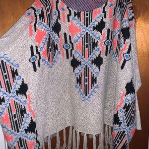 Freeway Sweater Poncho with Tassels